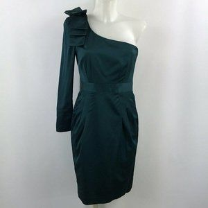French Connection Green One Shoulder Dress Size 6